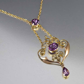 Rose Gold Amethyst Pearl Antique Edwardian Necklace
