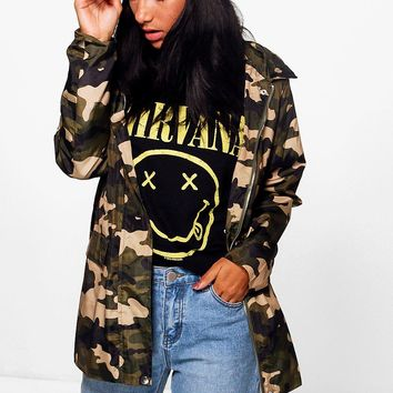 Amy Camo Hooded Rain Mac | Boohoo