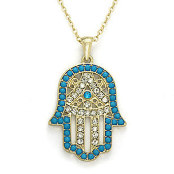 Gold Hamsa Hand Necklace Hamsa Necklace Blue Black White by LDnest