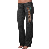 Miami Hurricanes Ladies Distressed Heathered Tri-Blend Pants - Black