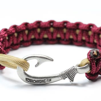 New Slim Cobra Braid Fish Hook Bracelet (Garnent & Gold)