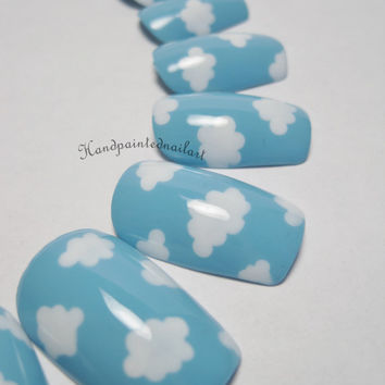 Blue Sky with Clouds Hand-painted Fake Nails