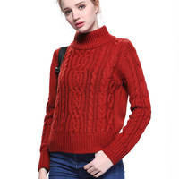 Red Roll Neck Cable Knit Sweater