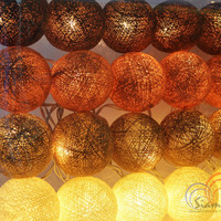 Coffee Tone Light Bedroom Decorate Garland Christmas Light Cotton Balls Hanging Fairy Lights Patio Holiday (20 Lights/Set)