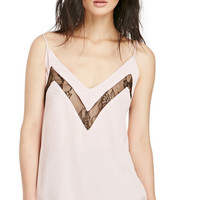 Pink Thin Strap V-neck Top with Lace Cut-out