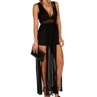 Sale-black Sheer Lace Romper