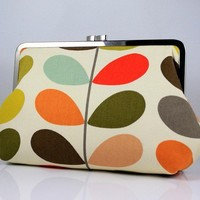 Colorful Leaves 8 inches Large Silver Frame Clutch by FA2u