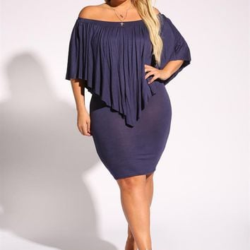 Plus Size Clothing | Plus Size Pointed Layered Bodycon Dress | Debshops