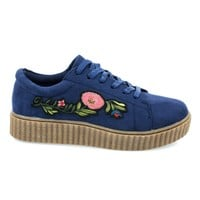 Stealthy02M Navy By Bamboo, Embroidery Floral Patchwork Platform Lace Up Creeper Sneaker.