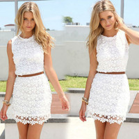 Women's Fashion Slim Lace One Piece Dress [6338685444]