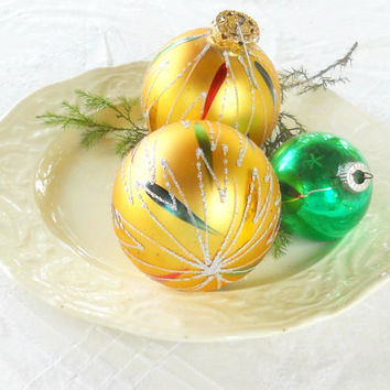 Vintage Red, Green and Gold Christmas Mercury Glass Ornaments, Set of 3, Victorian, Cottage Chic, West Germany, Shiny Brite, Antique