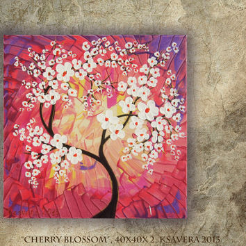 "FREE SHIPPING Acrylic Painting ""Cherry Blossom"" Tree of life Enchanted Forest KSAVERA Abstract Floral Modern Art purple red palette knife"