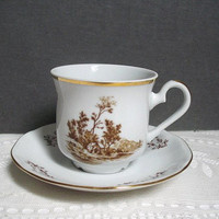 Vintage Teacup Bohemia Ceramic Works Cup and Saucer