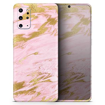 Rose Pink Marble & Digital Gold Frosted Foil V18 - Skin-Kit for the Samsung Galaxy S-Series S20, S20 Plus, S20 Ultra , S10 & others (All Galaxy Devices Available)