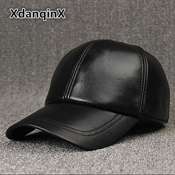 Trendy Winter Jacket XdanqinX 2018 New Style Winter Men's Hat Thicken Warm Genuine Leather Baseball Caps Snapback Tongue Cap Adjustable Size Dad Hats AT_92_12