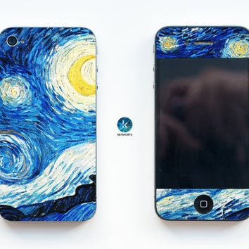 Van Gogh Dreams iPhone Skin iPhone decal iPhone sticker for iPhone 4, iPhone 4s, iPhone 5, iPhone 5s and iPhone 6 Starry Night Painting
