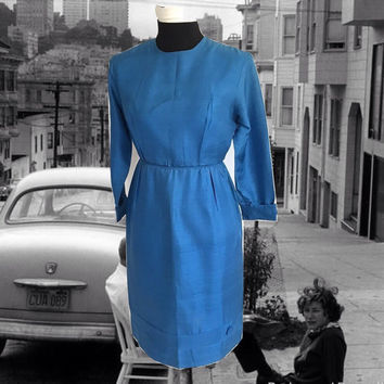 Vintage 50's 60's Blue Silk Sheath Dress Straight Skirt Covered Buttons Details
