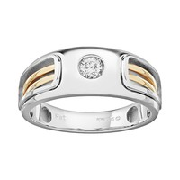 1/5 Carat T.W. Diamond 10k Gold Two Tone Openwork Wedding Ring - Men (White)