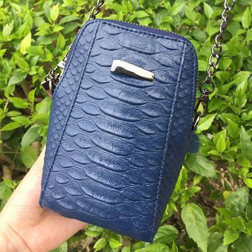 2017 Women Small Crossbody Bag PU Leather Female Shoulder Bag Black Aligator Cell Phone Bags High Quality Blue Lady Hand Bag
