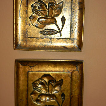 Custom Finished Baroque Wall Art .14K Gold Leafed plaques .set of 3. Crackled floral Plaques.RARE art. One of a kind TRIO.Gold.Gilded Decor