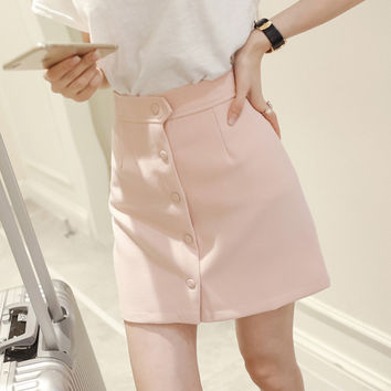 New fall women fashion was thin front buckle casual cotton high waist A-line skirts for girls