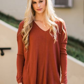 Seamingly Perfect Burnt Orange V Neck Sweater