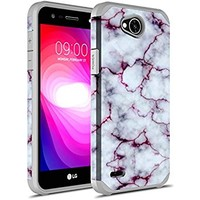 LG X Charge Case, LG X Power 2 Case, LG Fiesta LTE Case, LG K10 Power Case, Rosebono Hybrid Dual Layer Shockproof Hard Cover Graphic Fashion Cute Colorful Silicone Skin Case for LG LV7 - Pluple Marble