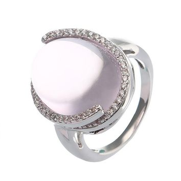 JASSY® Romantic Love Stone Ring Translucent Natural Rose Quartz Platinum Plated Zirconia Gift