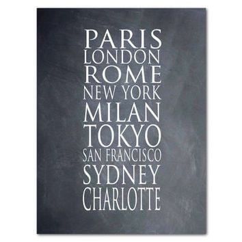 City Names Print - Paris London Rome New York Milan Tokyo San Franscisco Sydney Your City - Personalized Typography Wall Art - Subway Art