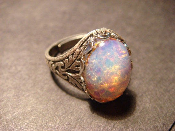 Victorian Style Fire Opal Antique Silver Ring- Adjustable (473)