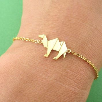 Camel Origami Shaped Charm Bracelet in Gold