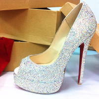 ss520 multi size of stone Bling High heel shoe by Crystaljam