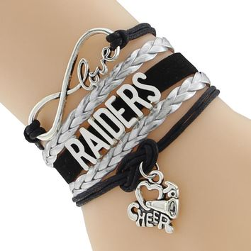 Classic Infinity Love Raiders Football Team Bracelet Sport Customize Oakland Sport wristband friendship Bracelets F-CTSLB0252