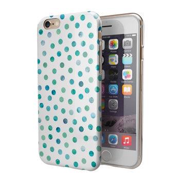 Aqua Watercolor Dots over White 2-Piece Hybrid INK-Fuzed Case for the iPhone 6/6s or 6/6s Plus