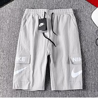 NIKE Fashion New Letter Hook Print Women Men Shorts Gray