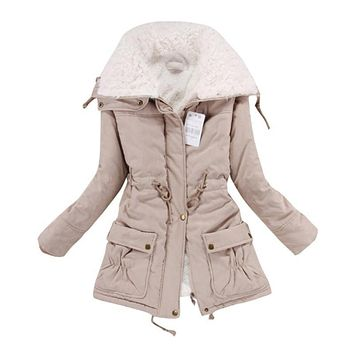 Thickening Warm Fur Collar Winter Coat New Women Clothes Lamb Wool Jacket Lapel Parka Overcoat S-XL