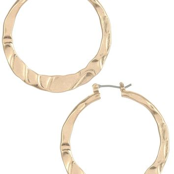 Gold Hammered Flat Brass Metal Hoop Earring