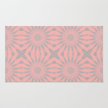 Pink & Gray Flowers Area & Throw Rug by 2sweet4words Designs