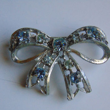 Silver tone Blue and White Rhinestone Bow Brooch Vintage
