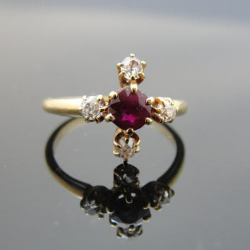 Victorian Ruby Ring with Mine Cut Diamonds, 14k Yellow gold. RGRBY101D