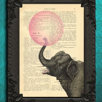 Elephant with bubblegum illustration, Animal Art - ORIGINAL ARTWORK - Dictionary Art Print Vintage Upcycled Antique Book Page no.448