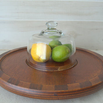 Vintage Table Top Lazy Susan, Cheese Dome, Wood Cheese Board with Glass Dome
