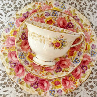 Serena 3-piece Set - Royal Albert English Bone China Teacup, Saucer, and Side Plate - 1940s