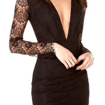 Black V-Neck Backless Lace Dress