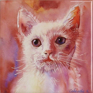 Cat white - Painting Watercolour - Hand Painted Ceramic Tile Wall Art -  Sublimation - desk accessory - 10x10 cm, - christmas  -SobolevaArt