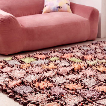 Cleo Checked Shag Rug - Urban Outfitters