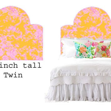 Wall Decal Headboard -  Flowers and Ribbons - Dome Shape - Orange and Pink - TWIN - Lite version