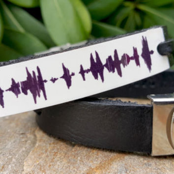 Sound Waves Bracelet, Personalized Mens Leather Sound Wave Jewelry, Customized Leather Bracelet Gifts, White Aluminum Plate, Voice Recording