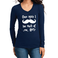 Harry Potter Inspired Clothing - I Mustache Too Much of You Harry Long Sleeve V-Neck - Ladies