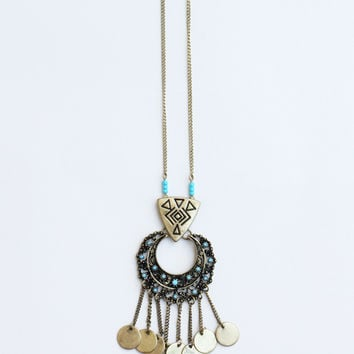 Cleo Fringe Necklace - Aqua